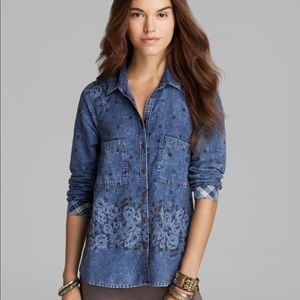 Free People Dottie Over You Floral Denim Top